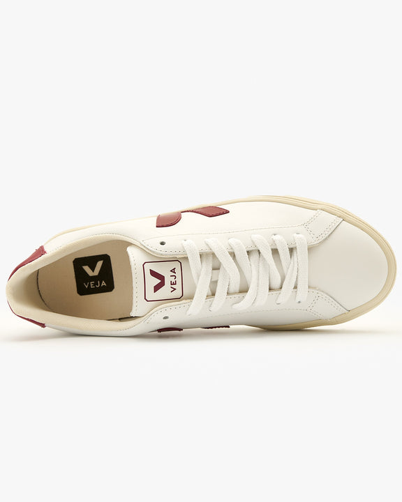 Veja Womens Esplar Leather Sneakers - Extra White / Marsala Veja Trainers