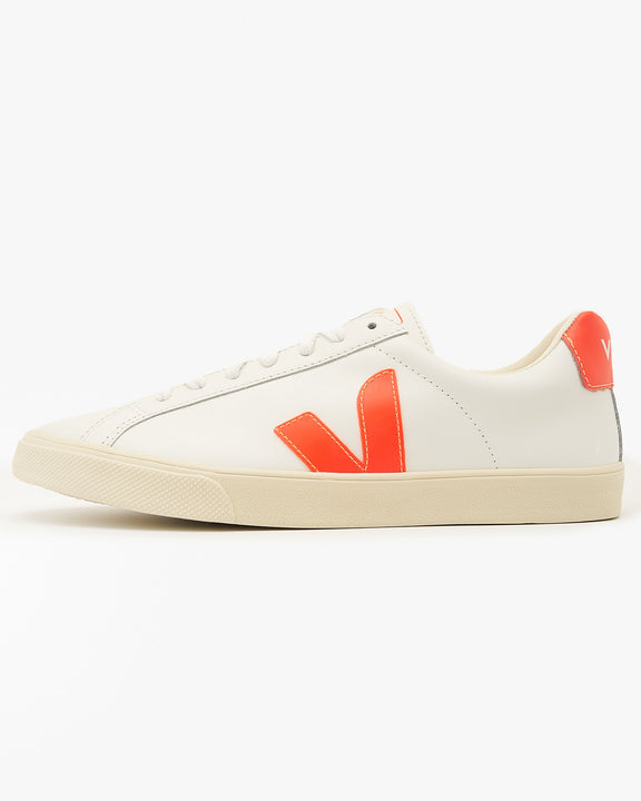 Veja Womens Esplar Leather Sneakers - Extra White / Orange Fluo UK 4 EOW0222134 Veja Trainers