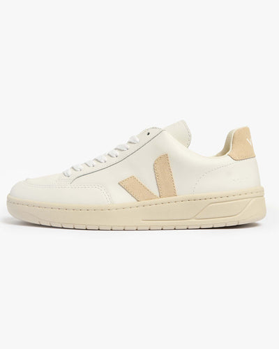 Veja Womens V-12 Leather Sneakers - Extra White / Sable UK 4 XDW0223354 Veja Trainers