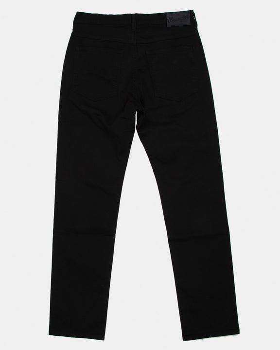 Wrangler Arizona Stretch Fitted Straight Mens Cotton Trousers - Black Wrangler Chinos & Non-Denim Pants
