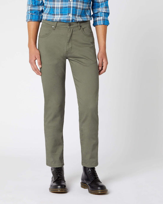 Wrangler Arizona Stretch Fitted Straight Mens Cotton Trousers - Duffelbag Green W32 L30 W12OW3XCB32S 5400919115119 Wrangler Chinos & Non-Denim Pants
