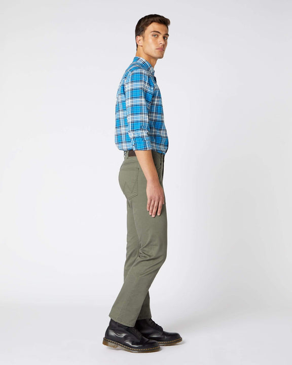 Wrangler Arizona Stretch Fitted Straight Mens Cotton Trousers - Duffelbag Green Wrangler Chinos & Non-Denim Pants