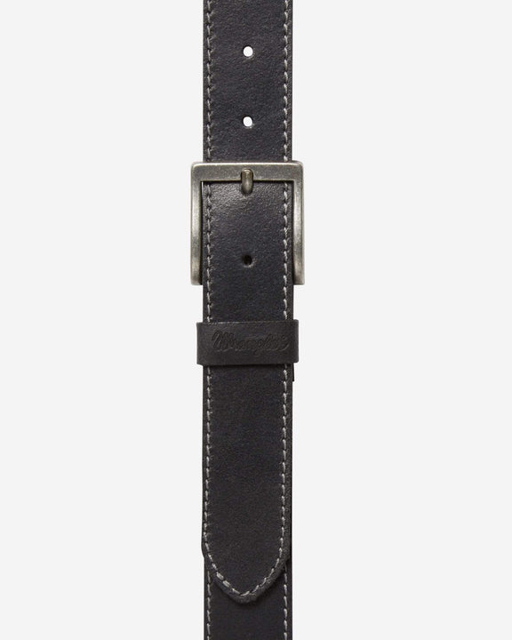 Wrangler Basic Stitched Belt - Black 100cm / 38in W0081US0138 5414936406662 Wrangler Belts Wrangler Basic Stitched Belt - Black - Jeans and Street Fashion from Jeanstore