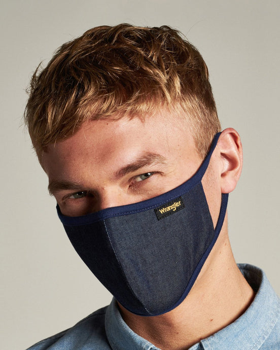 Wrangler Indigo Cotton Face Mask WRANGLERFACEMASK Wrangler Miscellaneous