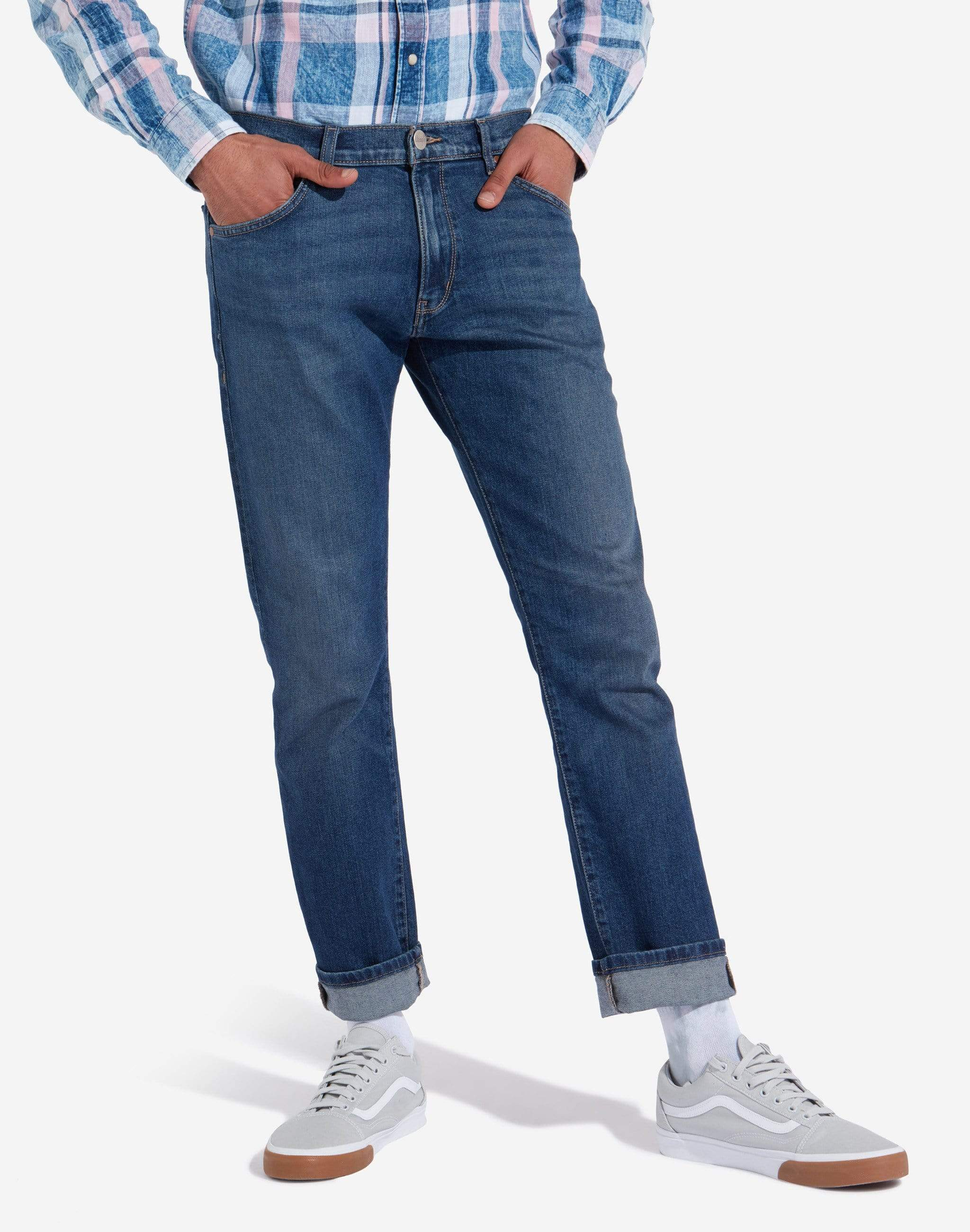 Wrangler Larston Slim Tapered Mens Jeans - Indigo Wit W30 L30 W18S2325F30S 5400597922467 Wrangler Jeans Wrangler Larston Slim Tapered Mens Jeans - Indigo Wit - Jeans and Street Fashion from Jeanstore