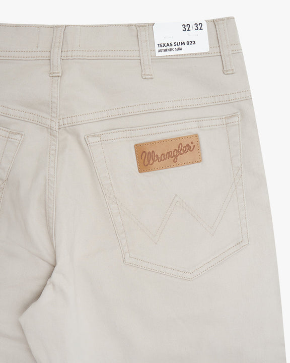 Wrangler Texas SLIM Mens Cotton Trousers - Stone Wrangler Chinos & Non-Denim Pants