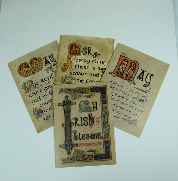 Celtic Manuscript Text Greeting Cards Set