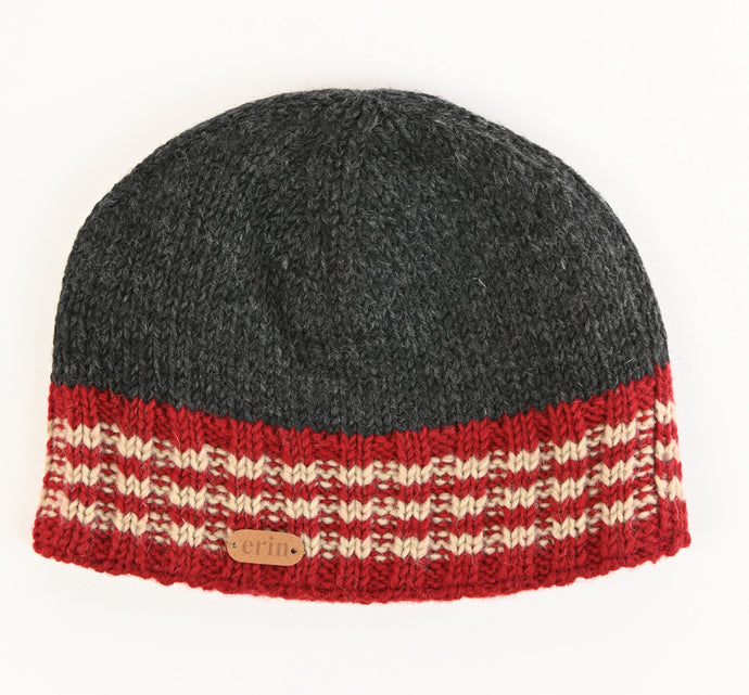 Rib Pullon Hat Charcoal Red