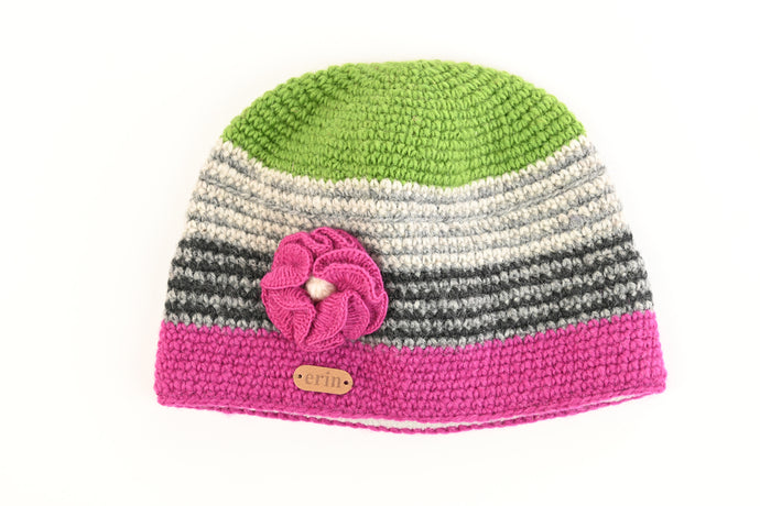 Crochet Cap With Flower Corsage In Pink And Green