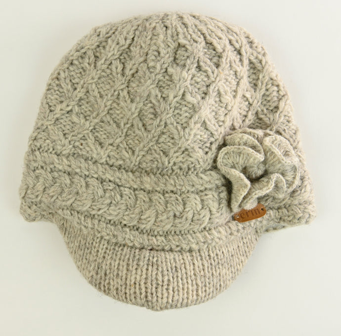 Aran Trellis Design Peak Hat