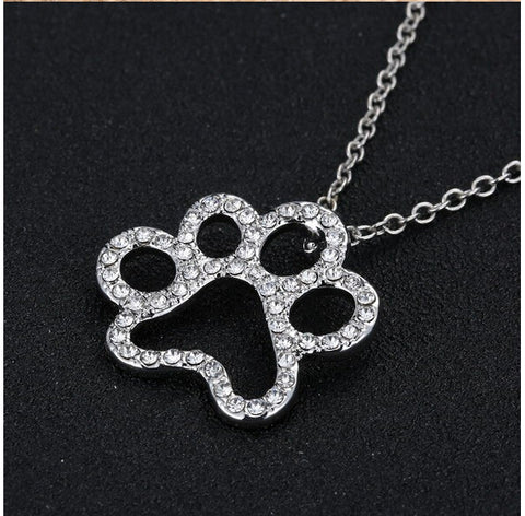 Paw Print Pendant Necklace, Synthetic Diamond