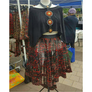 Ankara  Laced Skirt_High Low Rust with Necklace set
