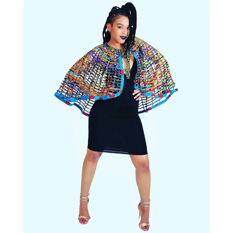 Ankara Laced Cape _ Extra Large High Low - Trufacebygrace