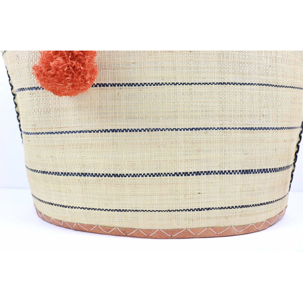 Meena Pin Stripes Straw / Beach Bag - Trufacebygrace