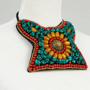 Tibet beaded choker turquoise bib necklace