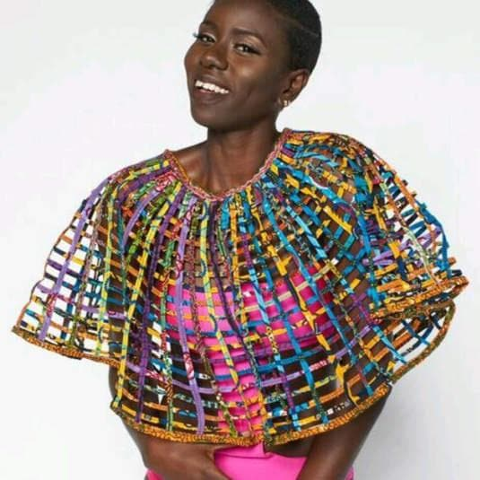 Ankara Large laced Cape with button. No embellishment at neckline - Trufacebygrace