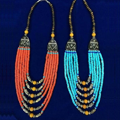 Bone Beads Multi Strand Ethnic Tribal Necklace Nepalese Jewelry