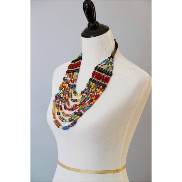 Trade beads, African beads ,African tribal beads, Glass beads and Genuine leather Multi-strand Statement  Necklace