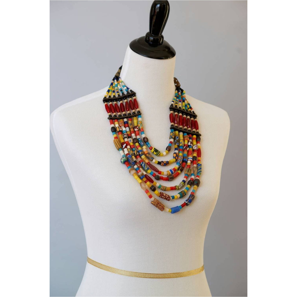 Trade beads, African beads ,African tribal beads, Glass beads and Genuine leather Multi-strand Statement  Necklace - Trufacebygrace