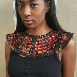 Extra Small Laced Ankara bib Statement necklace - No neckline ebelishment - Trufacebygrace