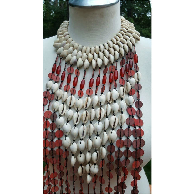 Recycled Rubber Mixed Genuine cowry shell and Glass Beads Statement Necklace - Trufacebygrace