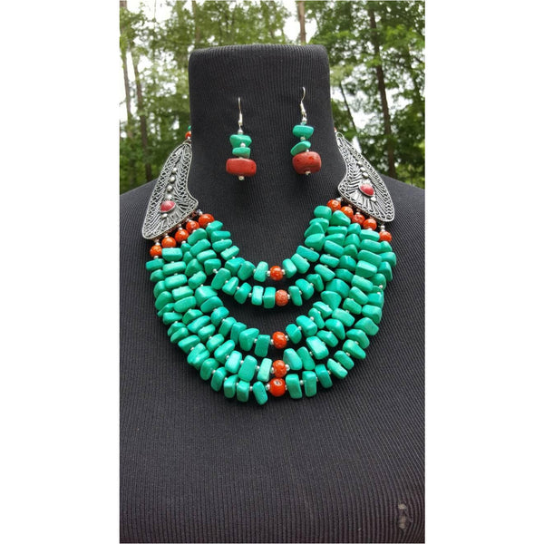 Obaa pa turquoise necklace set  on Sale - Trufacebygrace