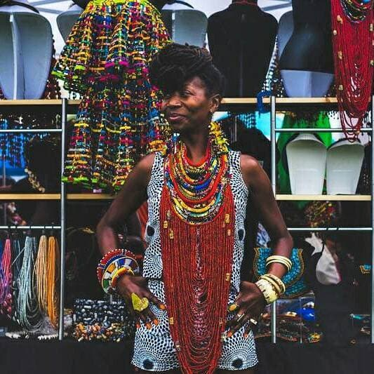 Dufie statement Ghana local trade beads with Ankara Multistrand  Necklace - Trufacebygrace