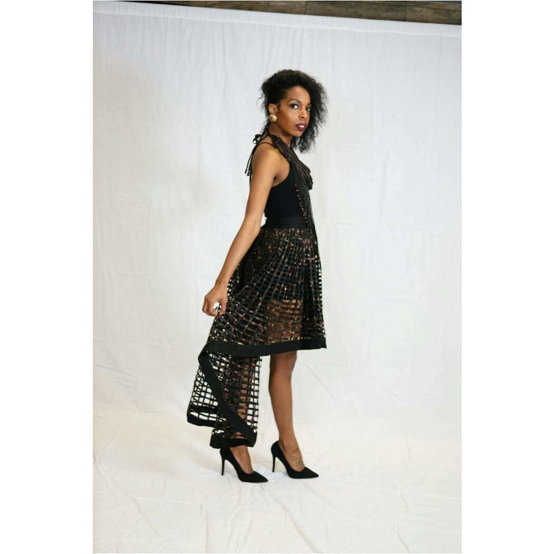 Ankara Print Laced High Low Skirt Black / Rust - Trufacebygrace