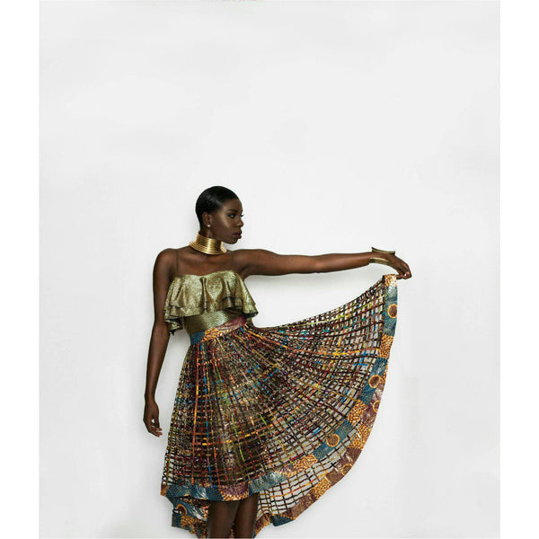 Ankara  Laced Skirt_High Low Rust with Necklace set - Trufacebygrace