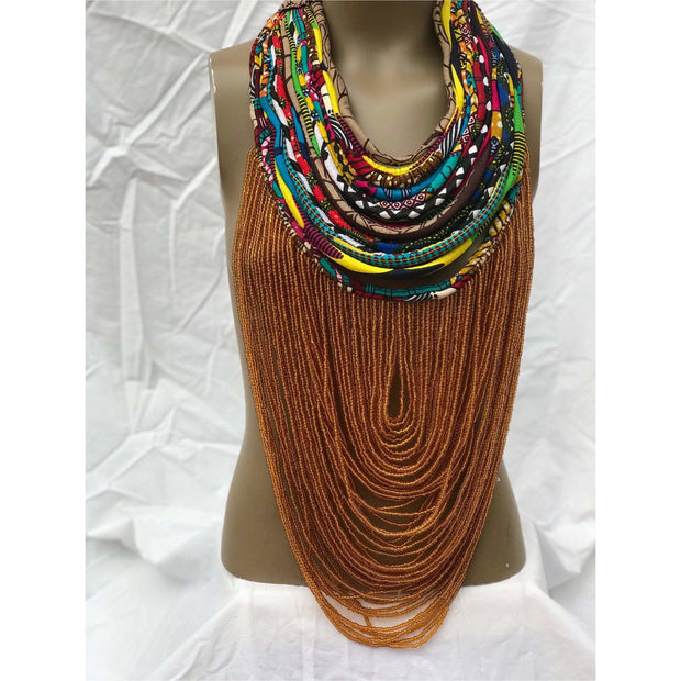 Dufie statement Ghana local trade beads with Ankara Multistrand  Necklace