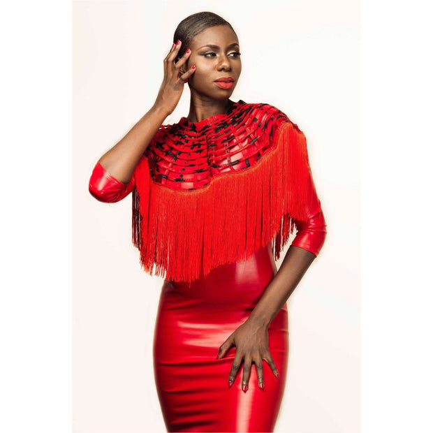 Ankara laced Fringe Cape with Red Fringe