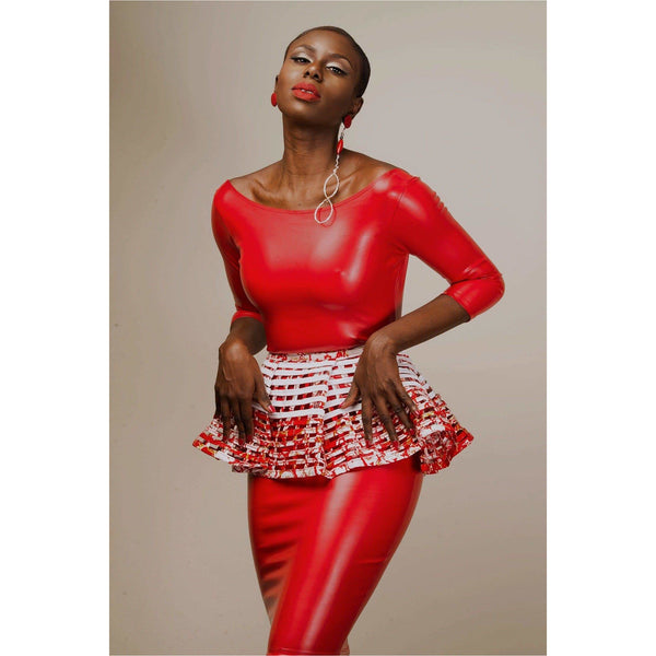 Abeeba Red and White Peplum - Trufacebygrace