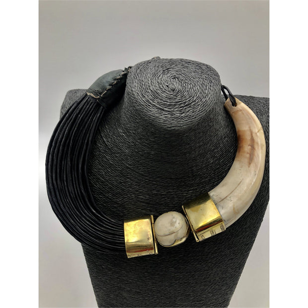 Leather and Horn -Habiba Necklace - Trufacebygrace