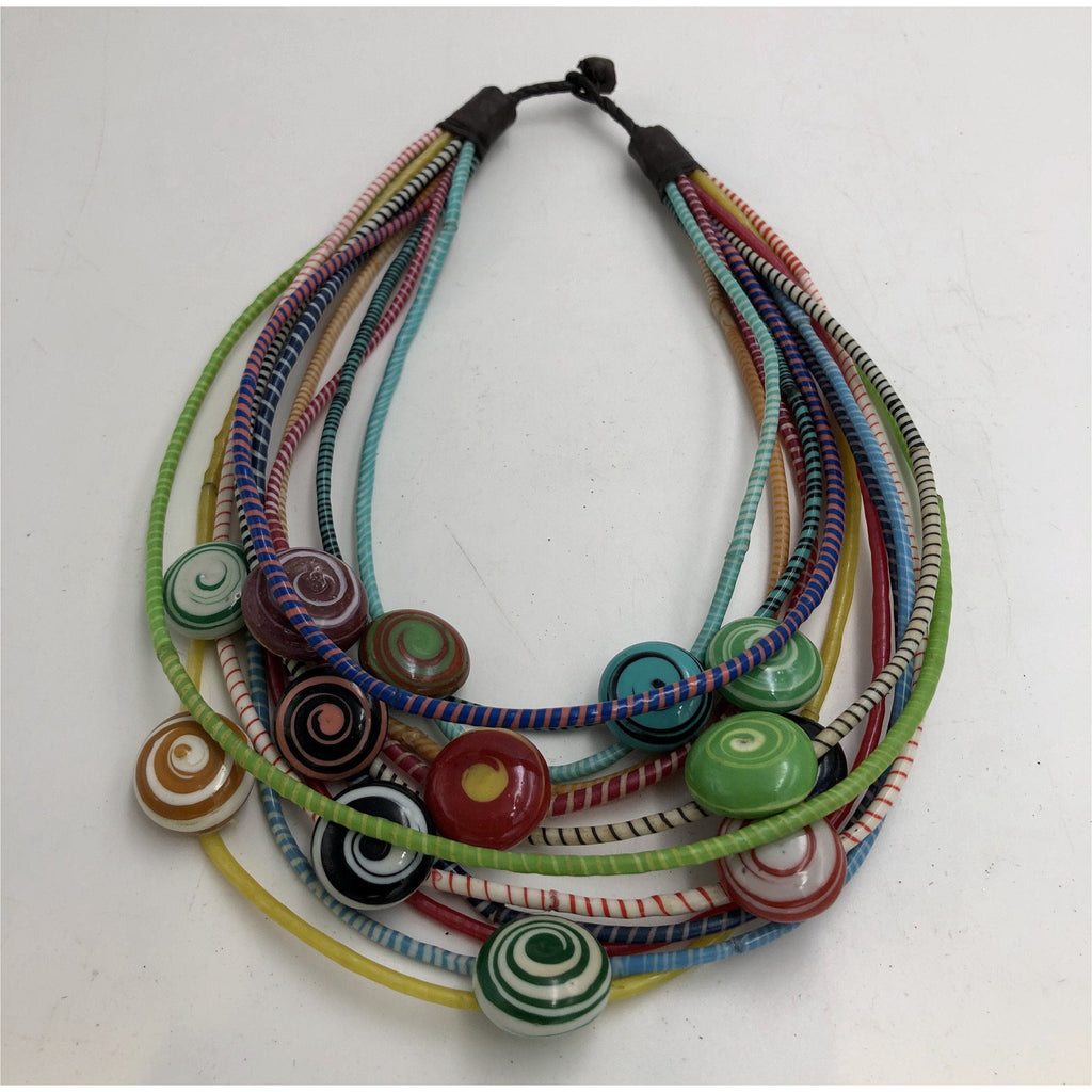 Recyled Flipflop Bead Necklace - Multi - Trufacebygrace