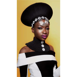Black Zulu hat with black and white beading - Trufacebygrace