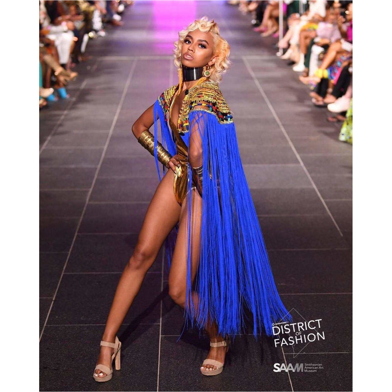 Queen Ankara Laced Fringe Cape Blue - Trufacebygrace