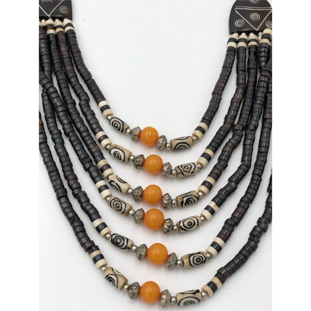 Bone Beads Multi Strand Ethnic Tribal Necklace Nepalese Jewelry - Trufacebygrace