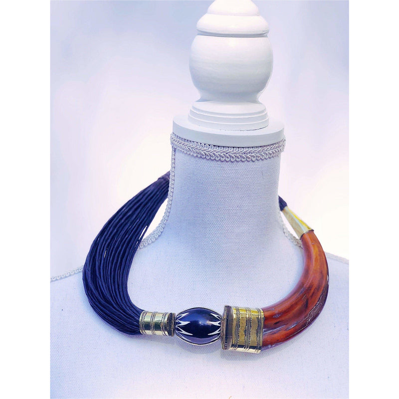 Leather and Bone necklace blue - Trufacebygrace