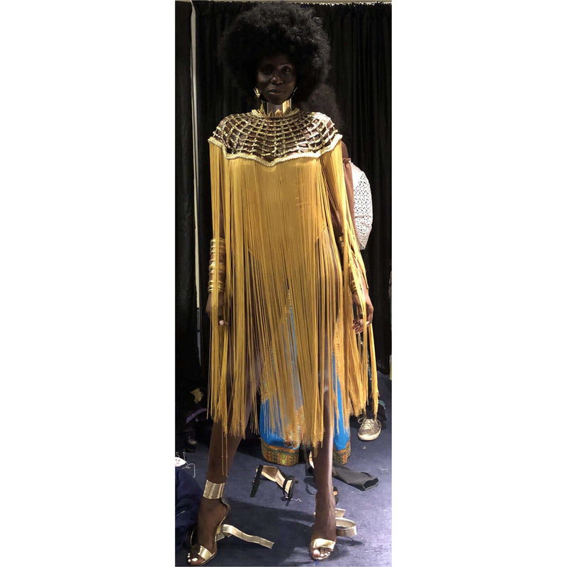 Queen Gold Ankara Laced Fringe Cape - Trufacebygrace