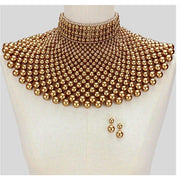 Pearl Bib Necklace bronze - Trufacebygrace