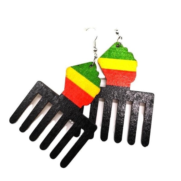 Duafe and powerfist Wooden Earrings