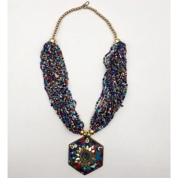 Glass beads multi strand w/ pendant necklace - Trufacebygrace