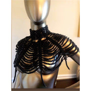 Pearl Bib Necklace - black handmade