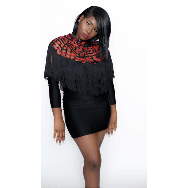 Ankara Laced Cape With Fringe black fringe - Trufacebygrace