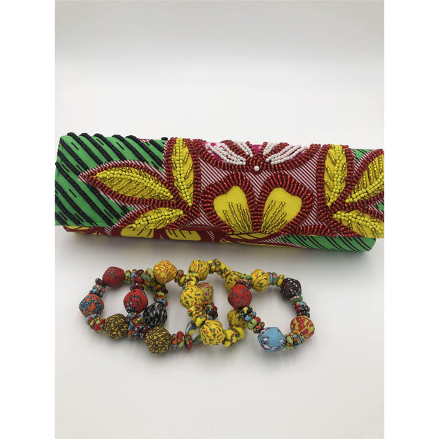 Ankara Beaded Clutch only. Bracelets not included - Trufacebygrace