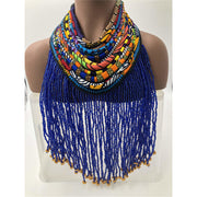 Dufie statement Ghana beads with Ankara Necklace - Short