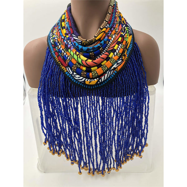 Dufie statement Ghana beads with Ankara Necklace - Short - Trufacebygrace