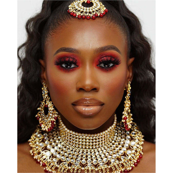 Kundani Pearl choker, Earrings and Tikka set