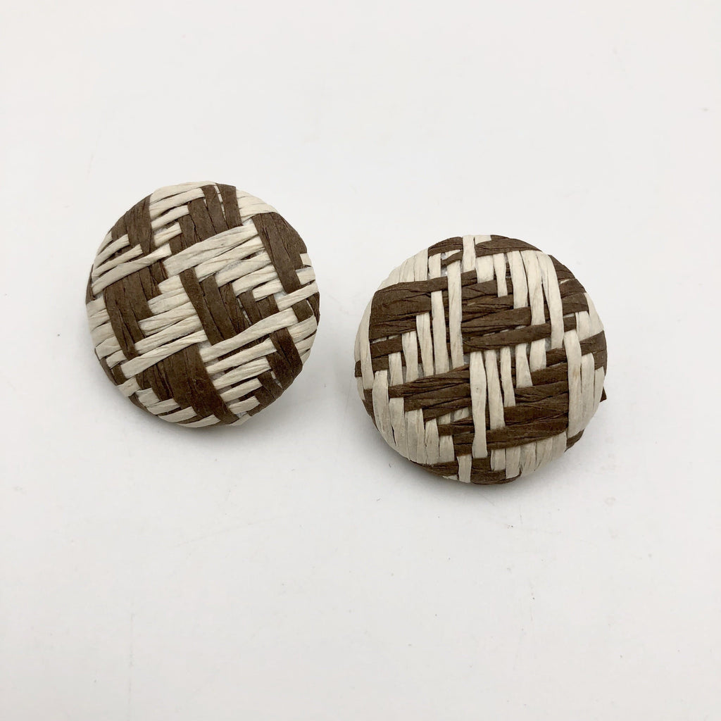 chocolate and cream geometric stud earrings - Trufacebygrace