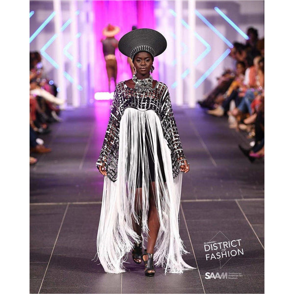 Convertible Ankara laced Long fringe cape/dress - Trufacebygrace